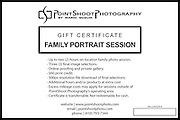 PointShoot Photography gift certificate for family photo session. from Stevensville, MD family and children photographer.