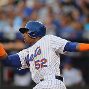 Yoenis Cespedes, New York Mets, batting during the New York Mets Vs Washington Nationals. MLB regular season baseball game at Citi Field, Queens, New York. USA. 1st August 2015. Photo Tim Clayton