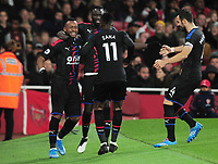 Football - 2019 / 2020 Premier League - Arsenal vs. Crystal Palace<br /> <br /> Jordan Ayew of Palace celebrates his equalising goal (2-2), at The Emirates Stadium.<br /> <br /> COLORSPORT/ANDREW COWIE