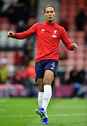 Virgil van Dijk (4) of Liverpool during the warm up ahead of the Premier League match between Bournemouth and Liverpool at the Vitality Stadium, Bournemouth, England on 7 December 2019.