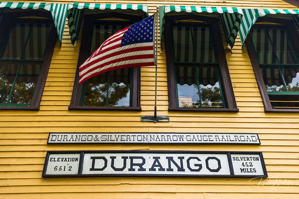 The Durango & Silverton Narrow Gauge Railroad train depot, Durango, Colorado USA