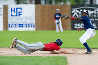 KELOWNA, BC - JULY 16: Ryan Altenberger #1 of the Wenatchee Applesox dives back to second base after leading off against the the Kelowna Falcons  at Elks Stadium on July 16, 2019 in Kelowna, Canada. (Photo by Marissa Baecker/Shoot the Breeze)