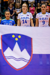 23-08-2017 NED: World Qualifications Greece - Slovenia, Rotterdam<br /> Sloveni&euml; wint met 3-0 / Veronika Mikl #16 of Slovenia, Lana Scuka #14 of Slovenia, Iza Mlakar #9 of Slovenia