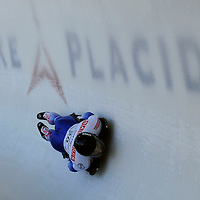 28 February 2007:  Gregory Saint-Genies of France in turn 18 the 3rd run at the Men's Skeleton World Championships competition on February 28 at the Olympic Sports Complex in Lake Placid, NY.