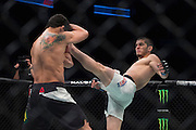 HOUSTON, TX - OCTOBER 3:  Islam Makhachev throws a kick against Adriano Martins during UFC 192 at the Toyota Center on October 3, 2015 in Houston, Texas. (Photo by Cooper Neill/Zuffa LLC/Zuffa LLC via Getty Images) *** Local Caption *** Islam Makhachev