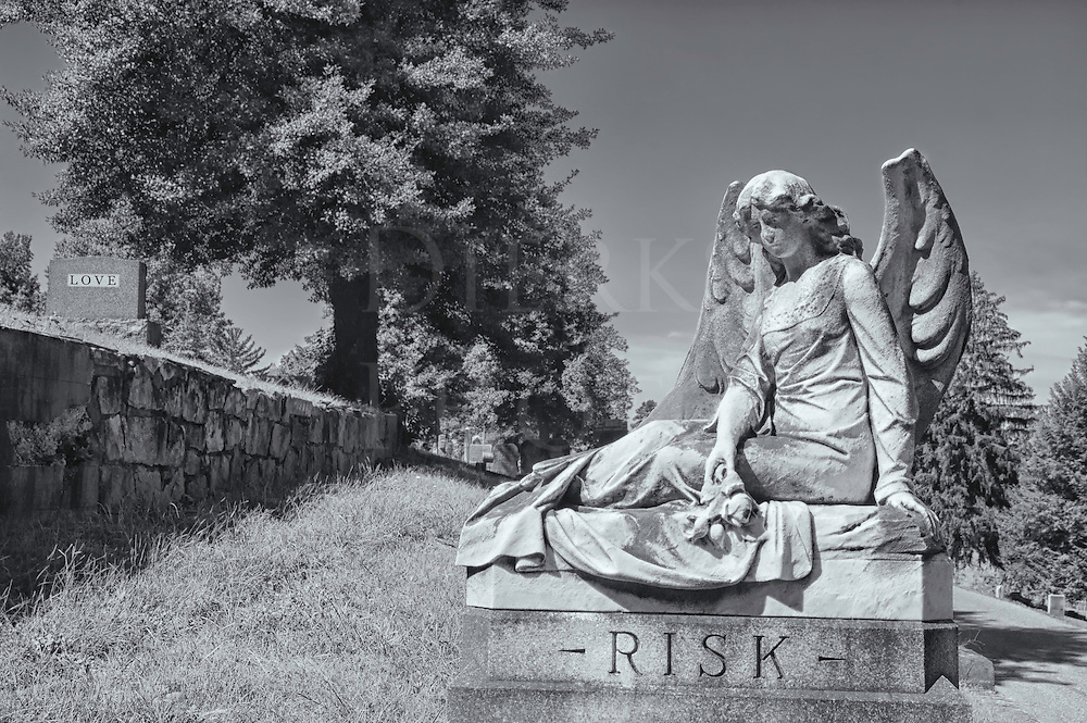 This cemetery landscape with the sad angel statue was originally taken in color which was then converted to black and white to add to the effect. It has a strong story line running through it, one that is haunting as much as it is daunting with the chances taken in romance.