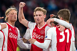 08-05-2019 NED: Semi Final Champions League AFC Ajax - Tottenham Hotspur, Amsterdam<br /> After a dramatic ending, Ajax has not been able to reach the final of the Champions League. In the final second Tottenham Hotspur scored 3-2 / Kasper Dolberg #25 of Ajax, Frenkie de Jong #21 of Ajax, Nicolas Tagliafico #31 of Ajax