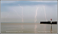 A thunderstorm passes the Kent coastline and the village of Kingsdown near Dover and Deal ahead of what is expected to be the hottest day of th year 19th June 2013<br /> Picture by Shaun Fellows / Shine Pix Ltd