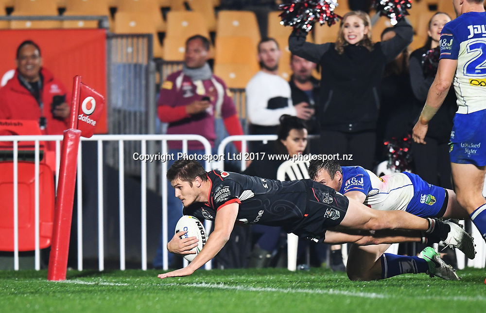 Blake Ayshford goes over for a disallowed try.<br /> Vodafone Warriors v  Canterbury Bulldogs. NRL Rugby League. Mt Smart Stadium, Auckland, New Zealand. Friday 23 June 2017 &copy; Copyright Photo: Andrew Cornaga / www.Photosport.nz