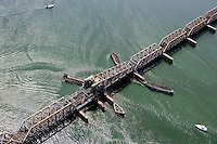 Aerial of Amtrak Bridge over the Connecticut River, Old Lyme, CT; tip of Upper Island/
