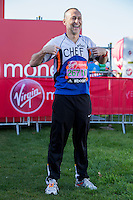 Chef Michel Roux in the celebrity area ahead of the Green Start at The Virgin Money London Marathon 2014 on Sundy 13 April 2014<br />