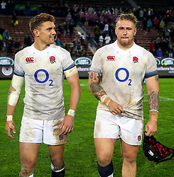 Henry Slade of England with Harry Williams of England- Mandatory by-line: Steve Haag/JMP - 23/06/2018 - RUGBY - DHL Newlands Stadium - Cape Town, South Africa - South Africa v England 3rd Test Match, South Africa Tour