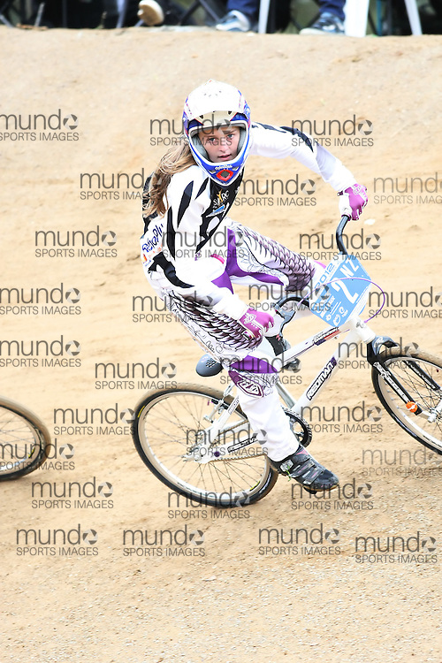 (Canberra, Australia---03 March 2012) Zoe Flemming of New Zealand competing in stage 5 of the BMX Australia Champbikx 14 Girls series at the Melba BMX Track in Canberra, Australia. Photograph 2012 Copyright Sean Burges / Mundo Sport Images. For reproduction rights and information in Australia, contact seanburges@yahoo.com. For information elsewhere contact info@mundosportimages.com.