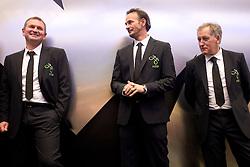 Head coach Matjaz Kek, Nihad Pejkovic and Milan Miklavic of Slovenian National Football team at presentation of  official Dirk  Bikkembergs fashion collection, on May 20, 2010 in Ciytpark, BTC, Ljubljana, Slovenia. (Photo by Vid Ponikvar / Sportida)