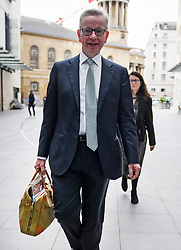 © Licensed to London News Pictures. 17/06/2019. London, UK. Secretary of State for Environment, Food and Rural Affairs MICHAEL GOVE MP is seen arriving at BBC Broadcasting House in London. Boris Johnson has cemented his position as favourite to become the next Prime Minster after winning a landslide in the first round of the conservative party's leadership race. Photo credit: Ben Cawthra/LNP