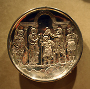 Six Silver Plates with Scenes from the Early life of David. Cast, hammered, engraved, punched and chased.  Byzantine, found in 1902, at Karavas, Cyprus. Made 629-30 in Constantinople.