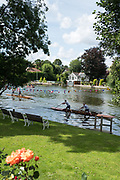 "Maidenhead, United Kingdom. ""Doubles"", racing on the return leg of the course, ""Thames Punting Club Regatta"", Bray Reach.<br />