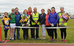 Pictured at the start of the Mayo Community Games finals in Claremorris. Reading the pledge were Leah Medler Knockmore and Darragh Dixon Belmullet, Gerry McGuiness, Mary McGreal, Antionette Meehan, Michael Brophy, Kathleen Conroy, Catherine Burke, Michela Walsh and Margaret Kilduff at Mayo Community Games. Special presentations were made to Mary McGreal and Margaret Kilduff for their years of contribution to Community Games.<br />