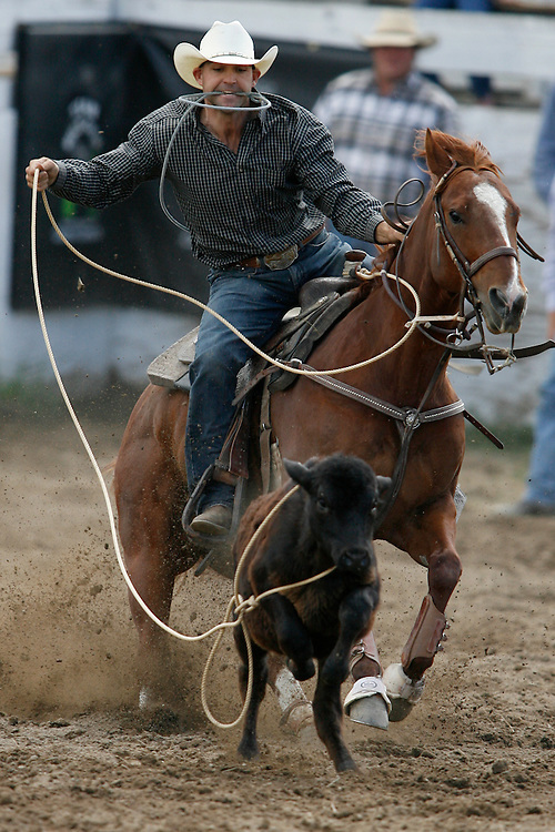 062109-Evergreen, Colo.-tiedownroping-Willie Roberts from Delta, CO lassos a calf during the 2009 Evergreen Rodeo PRCA Tie Down Roping Competition Sunday, June 21, 2009 at The Evergreen Rodeo Grounds..Photo By Matthew Jonas/Evergreen Newspapers/Photo Editor