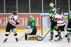 19.09.2014, Hala Tivoli, Ljubljana, SLO, EBEL, HDD Telemach Olimpija Ljubljana vs HC Znojmo Orli, 3. Runde, in picture Players of HC Znojmo Orli celebrate after scoring a goal during the Erste Bank Icehockey League 3. Round between HDD Telemach Olimpija Ljubljana and HC Znojmo Orli at the Hala Tivoli, Ljubljana, Slovenia on 2014/09/19. Photo by Matic Klansek Velej / Sportida