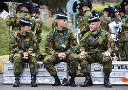 The 1,200 performers that will take part in the 2016 Royal Edinburgh Military Tattoo come together for the first time to rehearse.<br /> <br /> Pictured: Members of His Majesty The King's Guard from Norway