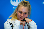 Dayana Yastremska of the Ukraine talks to the media after the quarter-finals at the 2020 Adelaide International WTA Premier tennis tournament against Donna Vekic of Croatia. Photo Rob Prange / Spain ProSportsImages / DPPI / ProSportsImages / DPPI