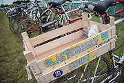 The bike park is already full of determined cyclists who have made it through the mud - The 2016 Glastonbury Festival, Worthy Farm, Glastonbury.