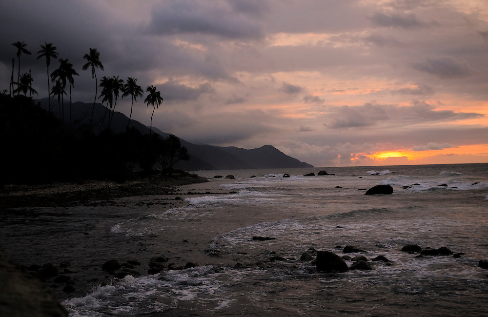 Sunset in Puerto Colombia, Venezuela, a small coastal town set in the tropical forest of the Henri Pittier National Park on March 26, 2009. The area is famed for producing high-quality cacao beans, used to make fine chocolates.