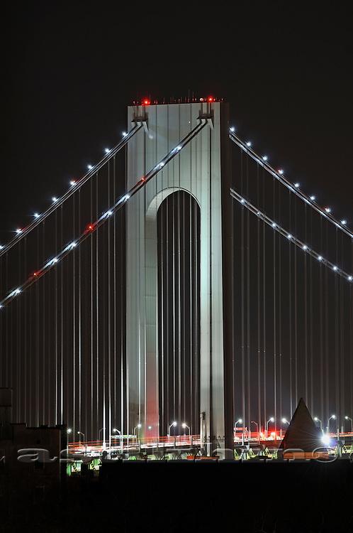 Verrazano Narrows Bridge at night.