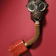 Studio product shot of a gas mask museum artifact
