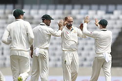 August 29, 2017 - Mirpur, Dhaka, Bangladesh - Australia's Lyon celebrates with team mates after taijul islam's wicket during day three of the First Test match between Bangladesh and Australia at Shere Bangla National Stadium on August 29, 2017 in Mirpur, Bangladesh. (Credit Image: © Ahmed Salahuddin/NurPhoto via ZUMA Press)