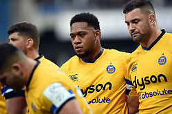 Levi Douglas of Bath Rugby looks on at a scrum - Mandatory byline: Patrick Khachfe/JMP - 07966 386802 - 15/12/2019 - RUGBY UNION - Stade Marcel-Michelin - Clermont-Ferrand, France - Clermont Auvergne v Bath Rugby - Heineken Champions Cup