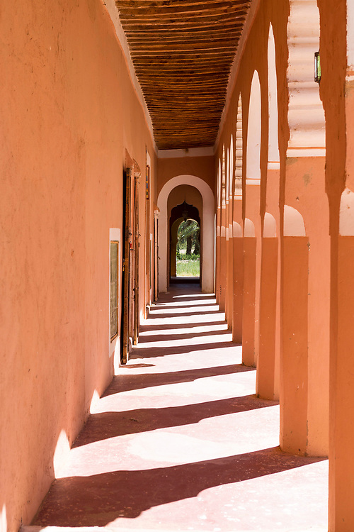AGDZ, MOROCCO - 13th June 2015 - Southern Moroccan kasbah palace architecture, Agdz, Draa Valley, Morocco