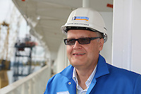 Oasis of the Seas at the shipyard in Turku, Finland where she is being built...Harri Kulovaara , Executive Vice President Marine, Royal Caribbean Cruises LTD.