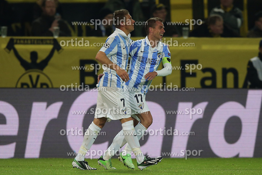 09.04.2013, Signal Iduna Park, Dortmund, GER, UEFA Champions League, Borussia Dortmund vs FC Malaga, Viertelfinale, Rueckspiel, im Bild Jubel JOAQUIN, Joaquin SANCHEZ RODRIGUEZ (FC Malaga - 7) - DUDA, Sergio Paulo BARBOSA VALENTE (FC Malaga - 17) nach dem 0-1 // during the UEFA Champions League best of eight 2nd leg match between Borussia Dortmund and Malaga FC at the Signal Iduna Park, Dortmund, Germany on 2013/04/09. EXPA Pictures © 2013, PhotoCredit: EXPA/ Eibner/ Gerry Schmit..***** ATTENTION - OUT OF GER *****