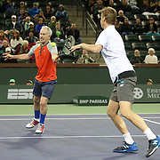 March 1, 2014, Indian Wells, California: <br /> Peter Fleming and John McEnroe play doubles during the McEnroe Challenge for Charity presented by Esurance. <br /> (Photo by Billie Weiss/BNP Paribas Open)