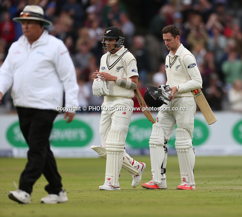 Trent Boult and Matt Henry walk off after losing the first Investec Test Match between England and New Zealand at Lord's Cricket Ground, London. Photo: Graham Morris/www.cricketpix.com (Tel: +44 (0)20 8969 4192; Email: graham@cricketpix.com) 25052015