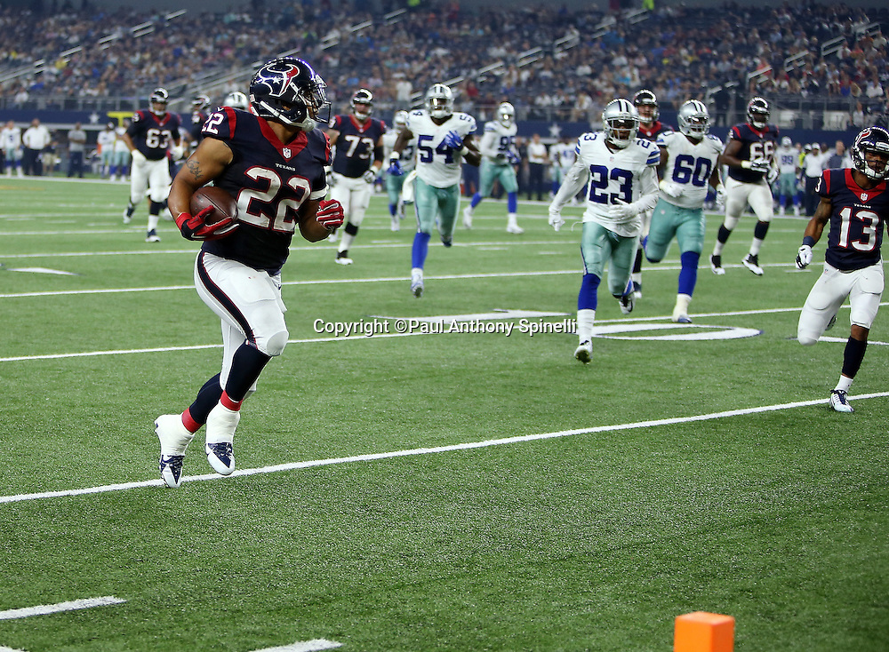 Houston Texans running back Chris Polk (22) runs for a second quarter touchdown and a 7-0 Texans lead on a pass reception and run during the 2015 NFL preseason football game against the Dallas Cowboys on Thursday, Sept. 3, 2015 in Arlington, Texas. The Cowboys won the game 21-14. (©Paul Anthony Spinelli)