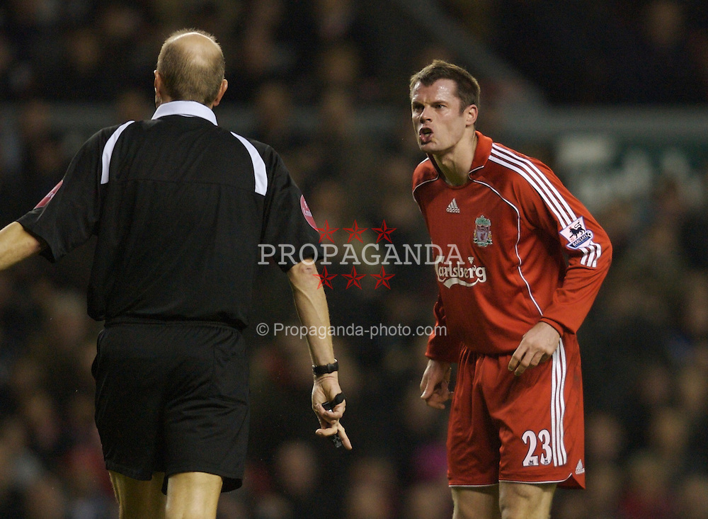 Liverpool, England - Saturday, January 6, 2007: Liverpool's Jamie Carragher tells pathetic referee Steve Bennent exactly what he thinks of him during the FA Cup 3rd Round match against Arsenal at Anfield. (Pic by David Rawcliffe/Propaganda)