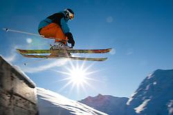 THEMENBILD - Skispass im osttiroler St. Jakob im Defereggen. Abseits des stressigen Massentourismus vieler anderer Skigebiete besticht die Brunnalm vor allem durch seine Überschaubarkeit. Die meisten Hänge sind auch mit Kindern sehr gut befahrbar. Hier im Bild Freestyle Skifahrer im Sprung. EXPA Pictures © 2012, PhotoCredit: EXPA/ Johann Groder