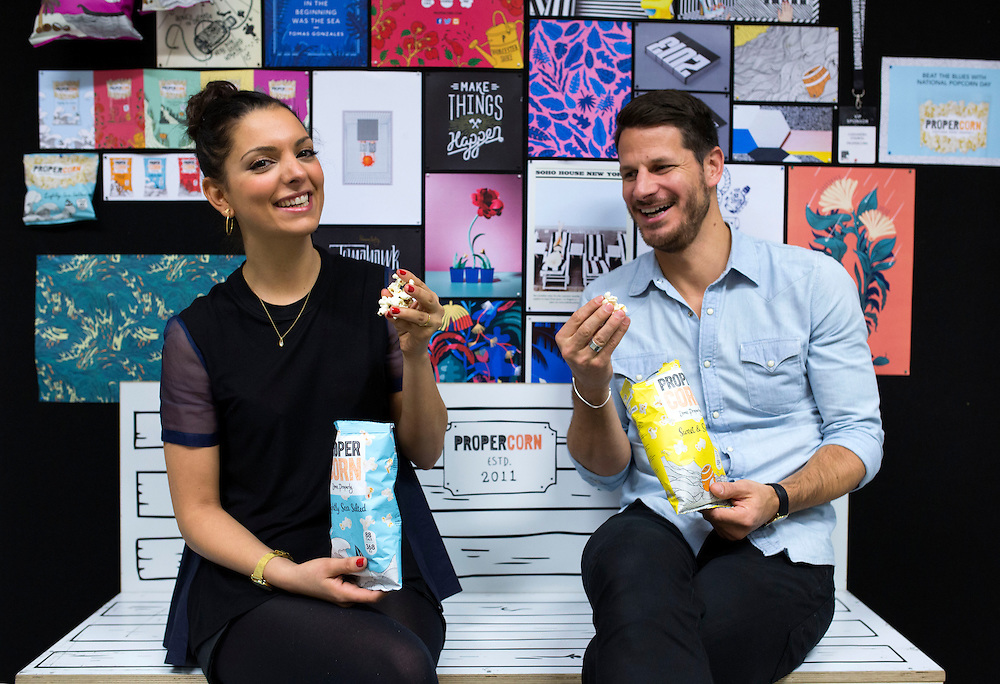 Ryan Kohn and Cassandra Stavrou from Propercorn<br /> Photograph: Rosie Hallam