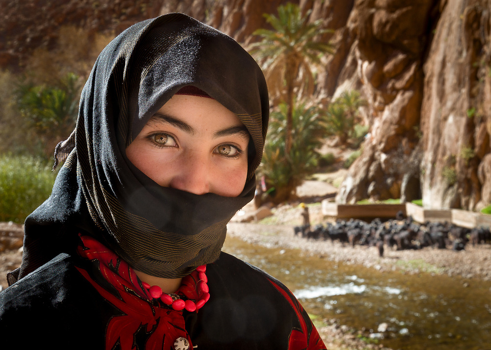 Berber women herding sheep in Todra Gorge, Morocco