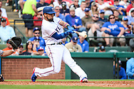 March 29, 2018 - Arlington, TX, U.S. - ARLINGTON, TX - MARCH 29: Texas Rangers right fielder Nomar Mazara (30) hits the ball for a double during the game between the Texas Rangers and the Houston Astros on March 29, 2018 at Globe Life Park in Arlington, Texas. Houston defeats Texas 4-1. (Photo by Matthew Pearce/Icon Sportswire) (Credit Image: © Matthew Pearce/Icon SMI via ZUMA Press)