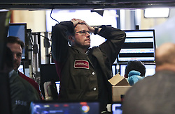 February 5, 2018 - New York, New York, U.S. - Traders at the New York Stock Exchange watch as the DOW Jones index closes 4.6% down. U.S. stocks closed sharply lower on Monday, with the DOW plummeting 4.6 percent, as the market took a heavy hit from panic sales. (Credit Image: © Wang Ying/Xinhua via ZUMA Wire)
