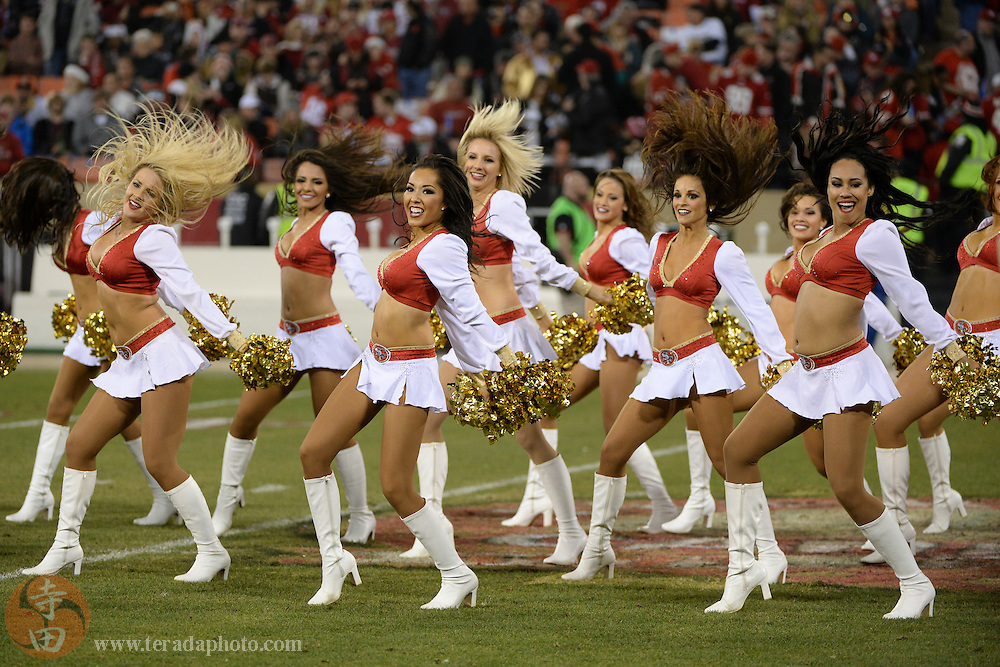 December 23, 2013; San Francisco, CA, USA; San Francisco 49ers Gold Rush cheerleaders perform during the halftime in the final regular season game at Candlestick Park against the Atlanta Falcons.