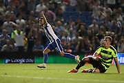Brighton & Hove Albion winger Anthony Knockaert (11) scores a goal 1-0 and celebrates during the EFL Sky Bet Championship match between Brighton and Hove Albion and Huddersfield Town at the American Express Community Stadium, Brighton and Hove, England on 13 September 2016.
