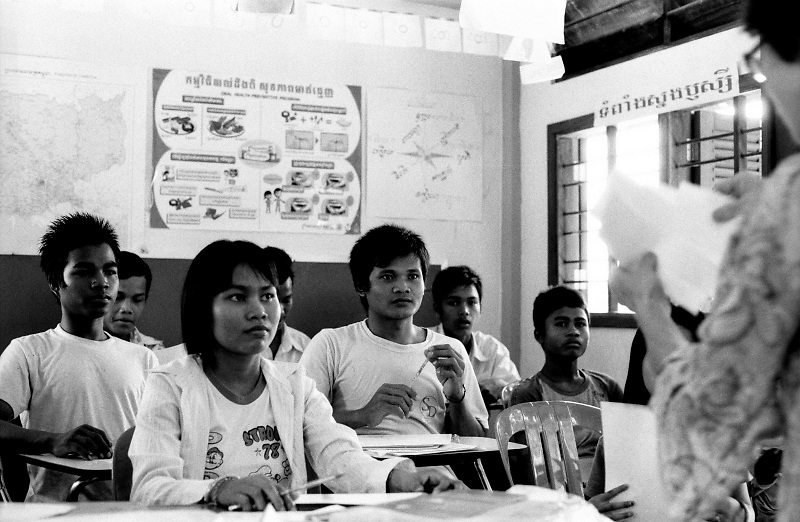 Pupils attending an awareness class on landmine and UXOs recognition, in a school set up by a local NGO near the Cambodian Landmine Museum in Siem Reap's province, Cambodia.