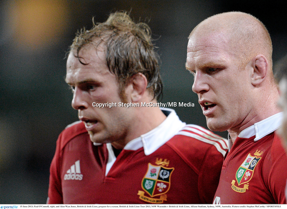 15 June 2013; Paul O'Connell, right, and Alun Wyn Jones, British & Irish Lions, prepare for a scrum. British & Irish Lions Tour 2013, NSW Waratahs v British & Irish Lions, Allianz Stadium, Sydney, NSW, Australia. Picture credit: Stephen McCarthy / SPORTSFILE
