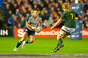 Huw Jones (#13) (Glasgow Warriors) of Scotland takes on Pieter-Steph du Toit (#7) (DHL Western Province) of South Africa during the Autumn Test match between Scotland and South Africa at the BT Murrayfield Stadium, Edinburgh, Scotland on 17 November 2018.