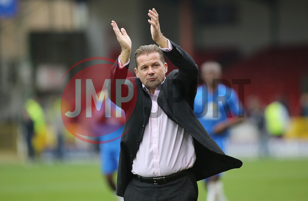 Peterborough United Manager Graham Westley claps the fans at full-time - Mandatory byline: Joe Dent/JMP - 07966 386802 - 10/10/2015 - FOOTBALL - County Ground - Swindon, England - Swindon Town v Peterborough United - Sky Bet League One